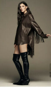 Zara Wine Brown Real Leather Fringed Overshirt Jacket, Size XL BNWT, RP £149