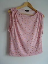 Ladies Lovely Equation Pink Mix Spotted Waist Length Tie Shoulder Top Size 14,Vg
