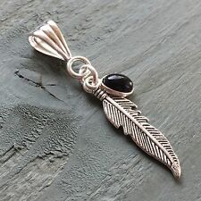 Silver Plated Black Onyx Tibetan Feather Pendant Totem Wicca Pagan Reiki Gothic