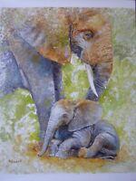 ORIGINAL OIL ACRYLIC PAINTING AFRICAN ELEPHANTS ART BY ARTIST