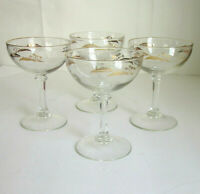 Vintage Mid Century Modern Gold Wheat Pattern Champagne Glasses Set of 4