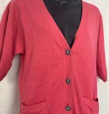 Talbots Womens Petite V Neck Sweater Cardigan Pink Jewel Button Cashmere Blend M