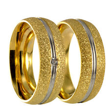 2 Edelstahl bicolor silber/gold Ringe Partnerringe Eheringe gratis Gravur 40P162