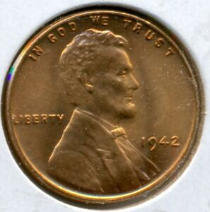 1942-P LINCOLN CENT, GEM BRILLIANT UNCIRCULATED RED, GREAT PRICE!