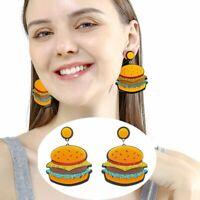 Women Funny Hamburger Acrylic Earrings Drop Dangle Hook Resin Ear Stud Jewelry