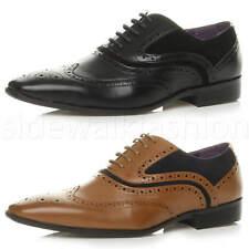 Para hombre Encaje Hasta Puntera en Punta Inteligentes Boda Novio Formal Cuero Calado Oxford Zapatos Talla
