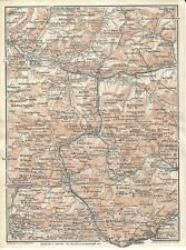 Carta geografica antica ALTA PUSTERIA DOLOMITI CADORINE TCI 1920 Old antique map