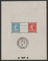 "FRANCE BLOC FEUILLET 2 a "" STRASBOURG 1927 "" AVEC CACHET EXPOSITION. TTB K585A"