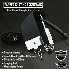 3pcs Black Straight Razor Shaving Kit Set Leather knife Sharpening Strop & Paste