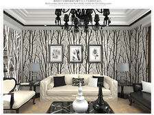 Textured Tree Forest Woods Wallpaper PVC Wall paper Roll For TV Background Wall