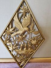 1971 Burwood Products Molded Plastic Gold Diamond Bird Dragonfly Flowers Plaque