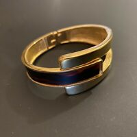 Vintage Crown Trifari Gold Tone Faux Tortoise Hinged Clamper Cuff Bracelet