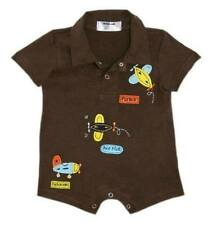 Oshkosh B'gosh Choco Brown Flyboy Romper w/ Collar Infant/Baby Boy Clothes, 9M