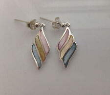 Sterling Silver Multi Coloured  Mother Of Pearl Wing Shaped  Drop/Dangle Earring