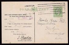GB KE7 private printed stationery ½d PPC Army & Navy Society used 1908