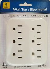 Electrical Extension Grounded 6 Outlet Plug Wall Taps Indoor White