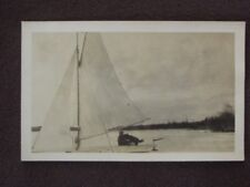 BOY & DOG IN ICE SAIL BOAT ON FROZEN LAKE Vintage 1910's REAL PHOTO POSTCARD