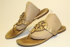 Tory Burch Miller Womens 8 M USED Metallic Leather Thongs Sandals Flats Shoes