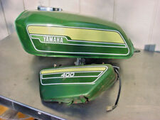 YAMAHA RD400 GAS TANK AND OIL TANK GENEVA GREEN PARTIAL BODY SET RARE COLOR