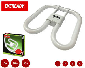Eveready CFL Energy Saving 2D Bulb, 2 / 4 Pin, 16W 28W 38W, White 3500K