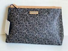 NEW! CALVIN KLEIN CK BLACK CAMEL TRAVEL MAKEUP BAG COSMETIC ORGANIZER CASE $68