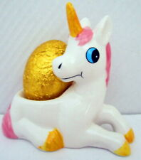 EGG CUP - GLOSSY POLYRESIN PINK & WHITE UNICORN GREAT FOR COLLECTORS & KIDS! BN