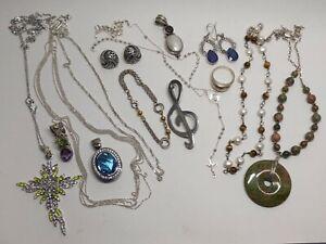 NOT SCRAP Lot Sterling Silver 925 Necklaces, Bracelet, Brooch, Earrings