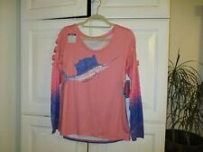 reel legends shirt top fish sport water linnea szymanski blue pink medium Nwt