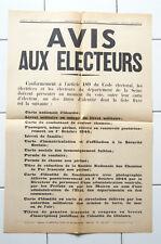 Affiche ancienne AVIS AUX ELECTEURS politique élections Vintage old poster