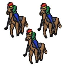 "Vintage Horse Applique Patch - Sport, Polo Player Badge 1-1/8"" (3-Pack, Iron on)"