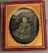 """1/6 PLATE DAGUERREOTYPE, ULTRA SHARP FOCUS, YOUNG CHILD, SIGNED """"HALE,"""" NO WIPES"""