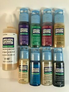 Assorted PLAID Gallery Glass window color 2 oz bottles, sealed lot of 8
