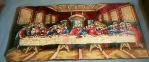 Large Vintage 38 by 19 Last Supper Tapestry Wall Hanging Rug Plush Velvet Italy