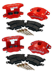 "WILWOOD BIG GM BRAKE CALIPER,PAD SET W/PINS,RED,FRONT & REAR,1.28"" DISCS,D52"