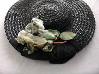 VINTAGE 1960'S BLACK FANCY STRAW  HAT SIZE SMALL-MED