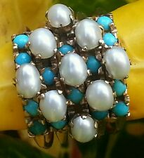 Vintage 14k Gold Turquoise Pearl Ring Estate Jewelry Ladies 6.4 gm Harem Ring