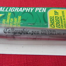 SILVER METALLIC CALLIGRAPHY PEN 2 NIBS 2.5mm LINE WIDTH WATERPROOF CHISEL EDGED