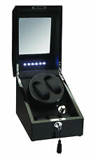 High Quality Black Diplomat 2 Watch Dual Automatic Winder Box AC+DC w/LED Lights