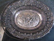 ".800 Silver HANDLED CANDY DISH OR BOWL CUPID DESIGN  5 1/2"" X 7"" No Mono"