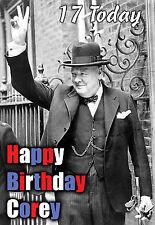 Winston Churchill La Grande-Bretagne politique salutation personnalisée carte Anniversaire Art