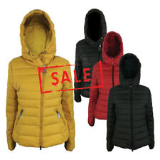 NEW Women Winter Quilted Padded Bubble Puffy Puffer Jacket Coat Hood Slim Fit