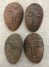 """Hand Carved Primitive Wood Heads Faces Buttons Vintage Lot of 4 Large 1 7/8"""""""