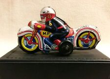 Military Police Motorcycle Friction Bike Tin Litho Toy by Nomura Japan 1950