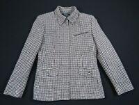NWOT Lauren Ralph Lauren Black Houndstooth Wool Silk Equestrian Full Zip Jacket