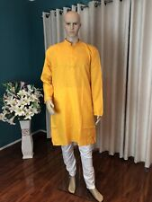 "40"" M L Sherwani Suit Indian Bollywood Mens Kurtha Mango Yellow Outfit Kurta KS4"