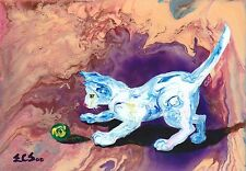 """White Cat Playing Art """"Ball Chase #9"""" Original Acrylic Abstract Painting"""
