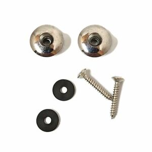 Chrome Guitar Strap Buttons With Screws And Pads Two End Pin Acoustic Electric