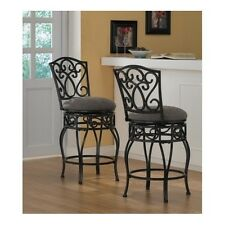Wrought Iron Swivel Counter Stools Pair Breakfast Bar Nook Kitchen Home Dining