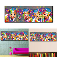 FM_ CO_ Colorful Cows Graffiti Canvas Painting Wall Art Living Room Bedroom Deco