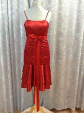 BRIDESMAID DRESS -RED SATIN  DRESS - FITTED BODICE FLARED SKIRT TIERS SIZE 8